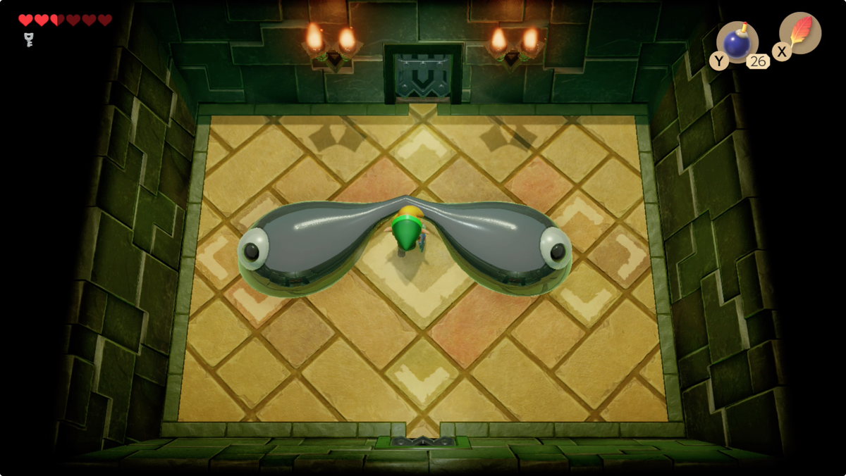 Link's Awakening Key Cavern Slime Eyes boss fight dash through the thin point to separate Slime Eyes completely