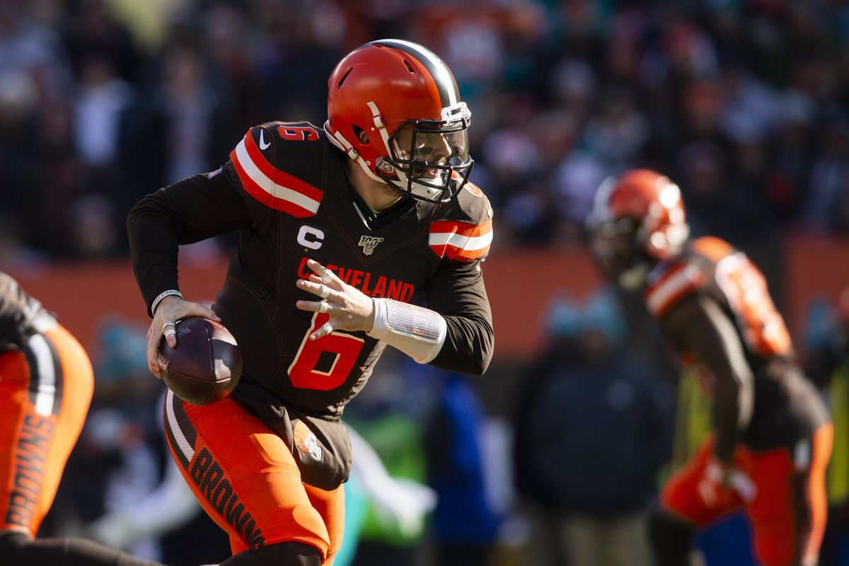 Cleveland Browns quarterback Baker Mayfield drops back with the ball during the first quarter against the Miami Dolphins at FirstEnergy Stadium.