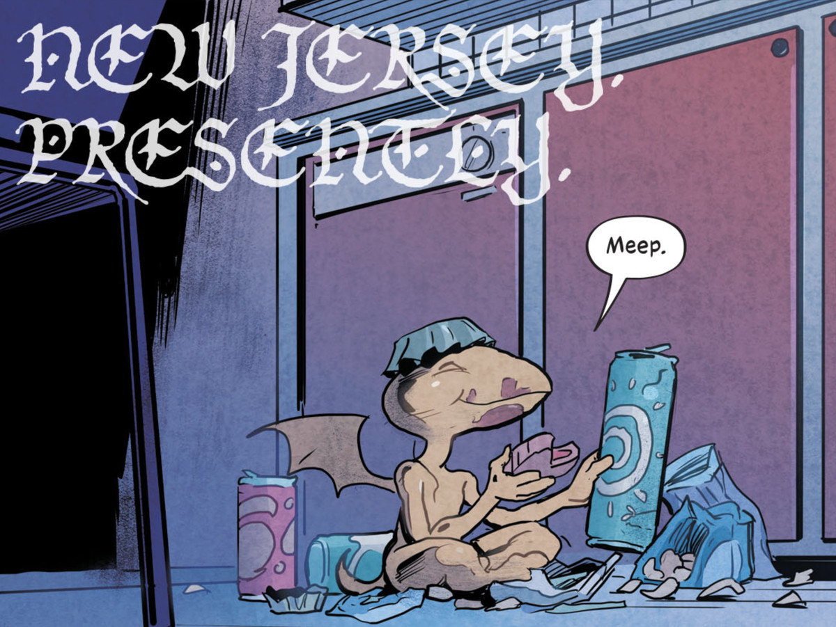 Goldie the baby gargoyle enjoys candy, snacks and sodas, with a bottlecap perched on his head like a hat, in The Dreaming: Waking Hours #8, DC Comics (2021).
