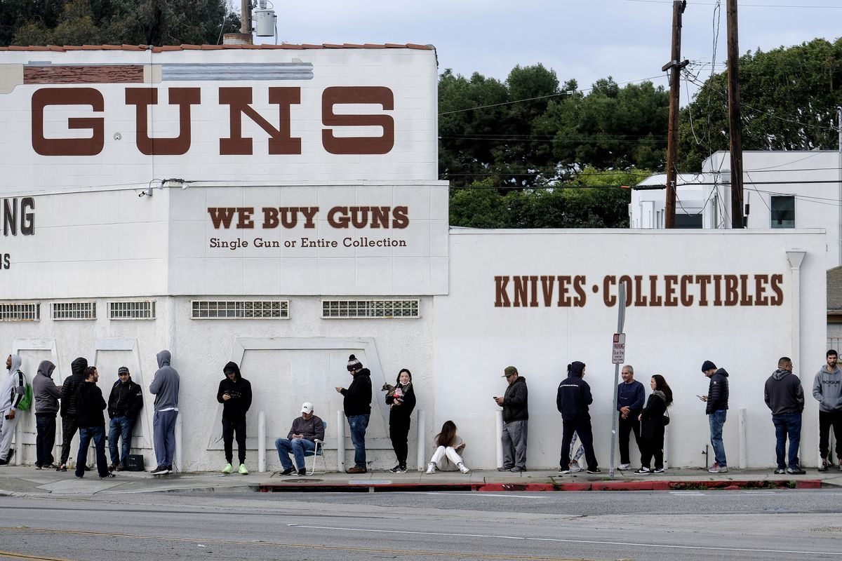 The coronavirus pandemic has led to panic-fueled gun purchases. FBI data shows that federally licensed gun dealers requested 1 million more background checks in March of 2020 than they did in March of 2019. Here, customers line up outside a gun store in Culver City, California on April 15.