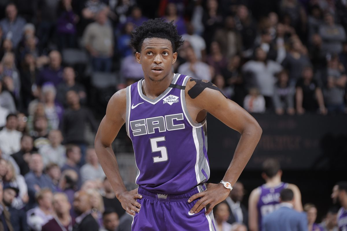 De'Aaron Fox of the Sacramento Kings looks on during the game against the Toronto Raptors on March 8, 2020 at Golden 1 Center in Sacramento, California.
