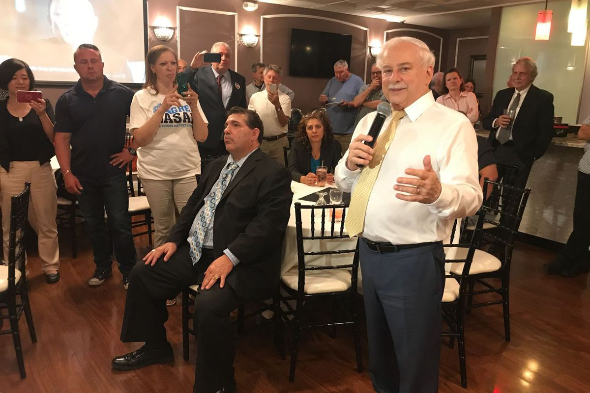 Greg Lasak addresses supporters in Bayside, Queens, on June 25, 2019.
