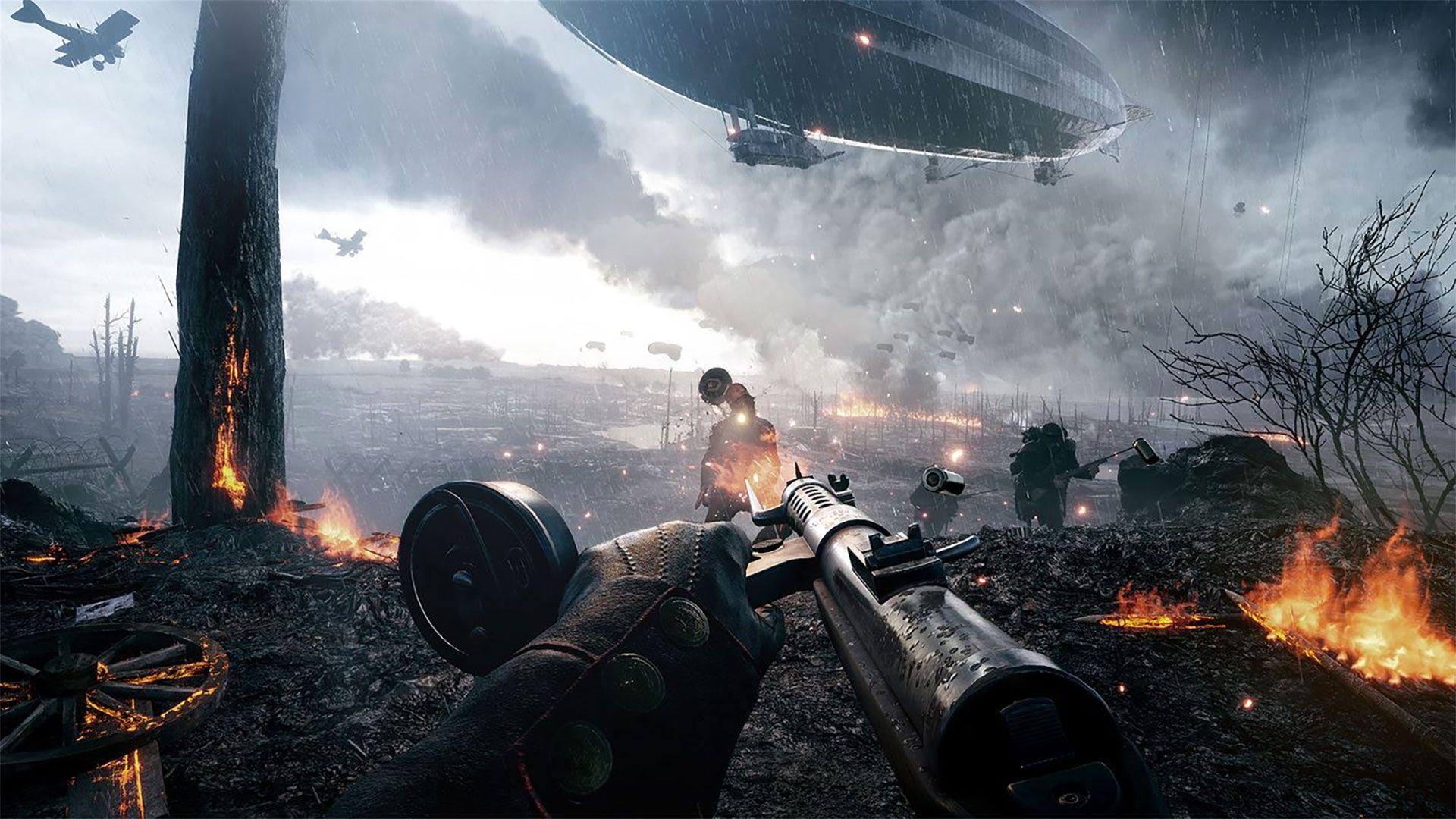 Battlefield 1 - aiming a gun on a flaming battlefield