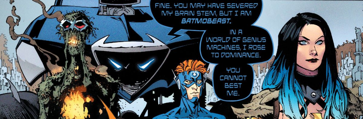 """""""You may have severed my brain stem, but I am Batmobeast. In a world of genius machines, I rose to dominance,"""" says a monster truck in Dark Nights: Death Metal #2, DC Comics (2020)."""