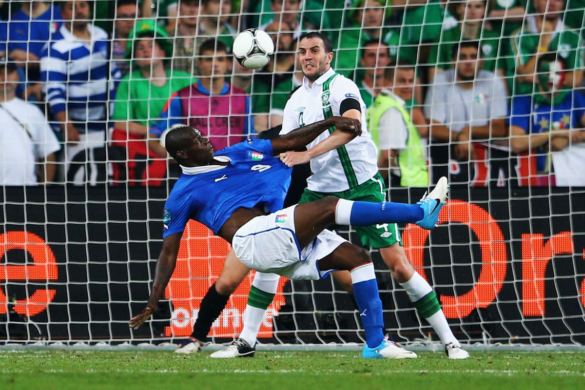 POZNAN, POLAND - JUNE 18:  Mario Balotelli of Italy scores his side's second goal during the UEFA EURO 2012 group C match between Italy and Ireland at The Municipal Stadium on June 18, 2012 in Poznan, Poland.  (Photo by Christof Koepsel/Getty Images)