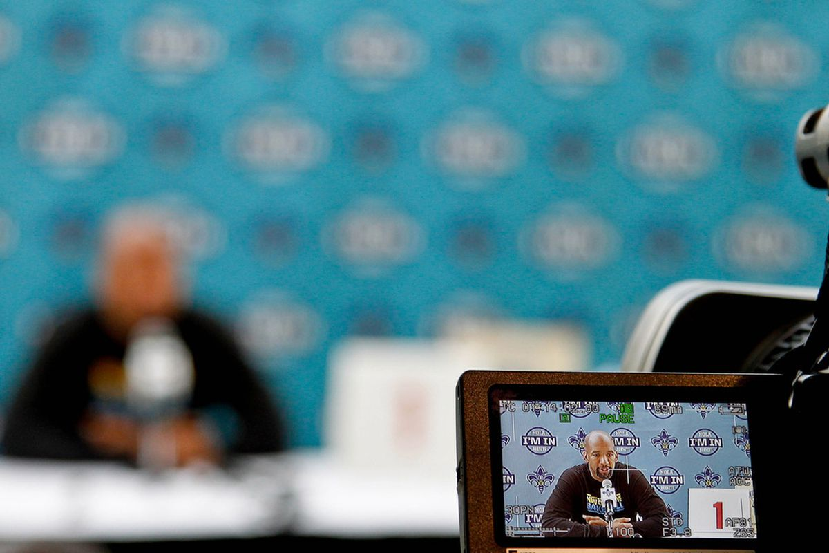 June 1, 2012; Westwego, LA, USA; A camera shoots video of New Orleans Hornets head coach Monty Williams during a press conference about the NBA Lottery at the Alario Center.  Mandatory Credit: Derick E. Hingle-US PRESSWIRE