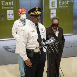 Chicago Police Supt. David Brown gives the media an update on an officer's condition and investigation after the shooting of the off-duty police officer at the University of Chicago Medical Center in Hyde Park, Monday afternoon, March 15, 2021.