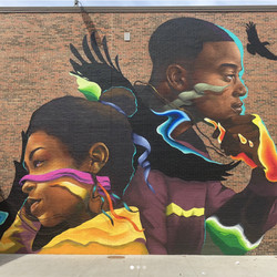 """""""Soaring Minds,"""" completed by Max Sansing in 2018, is located at the Michele Clark Magnet High School in South Austin on the West Side."""