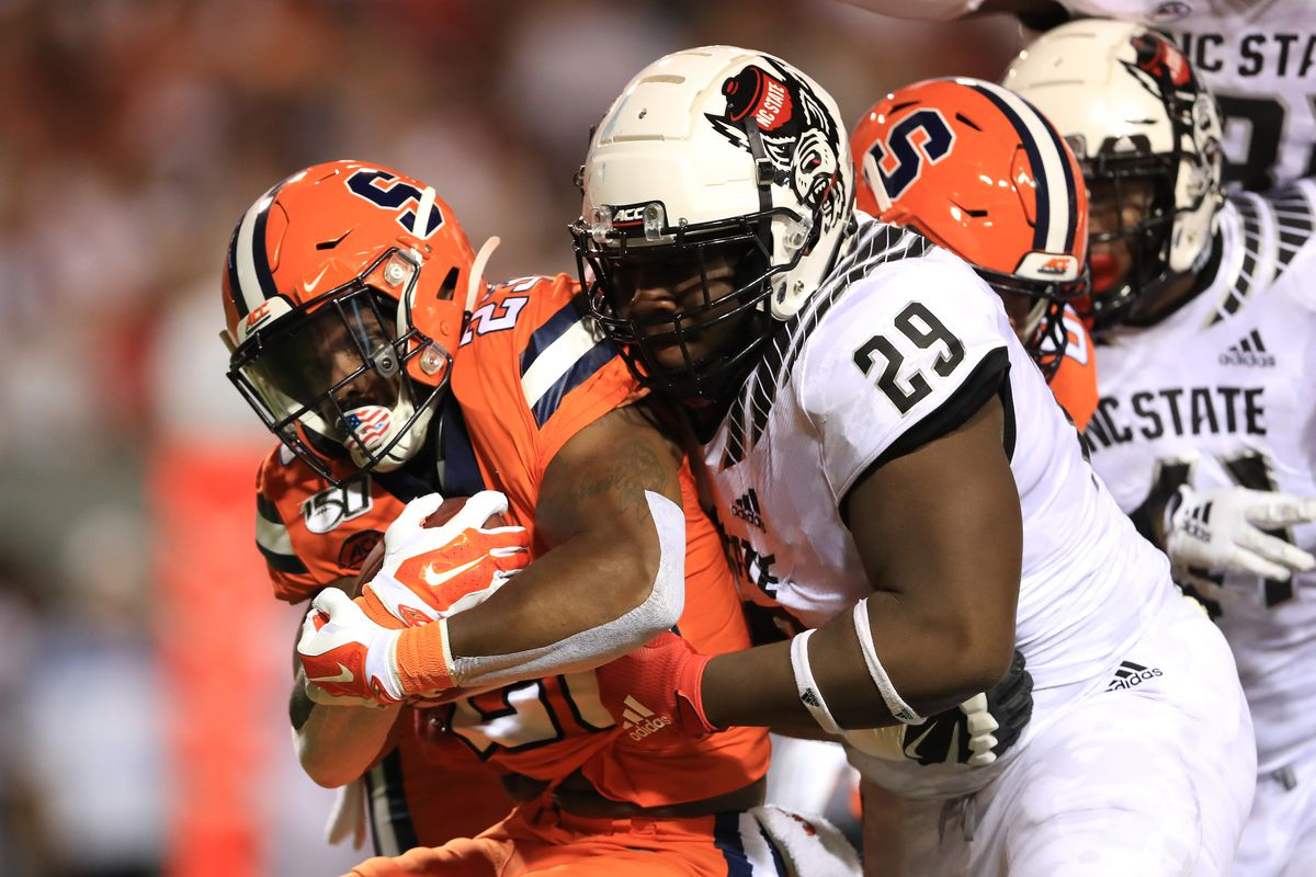 North Carolina State defensive tackle Alim McNeill (29) had 10 sacks and 15.5 tackles for loss in his college career.