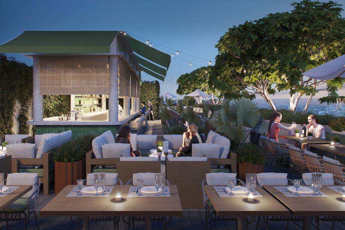 Rooftop lounge renderings of Grandmaster Recorders in Hollywood