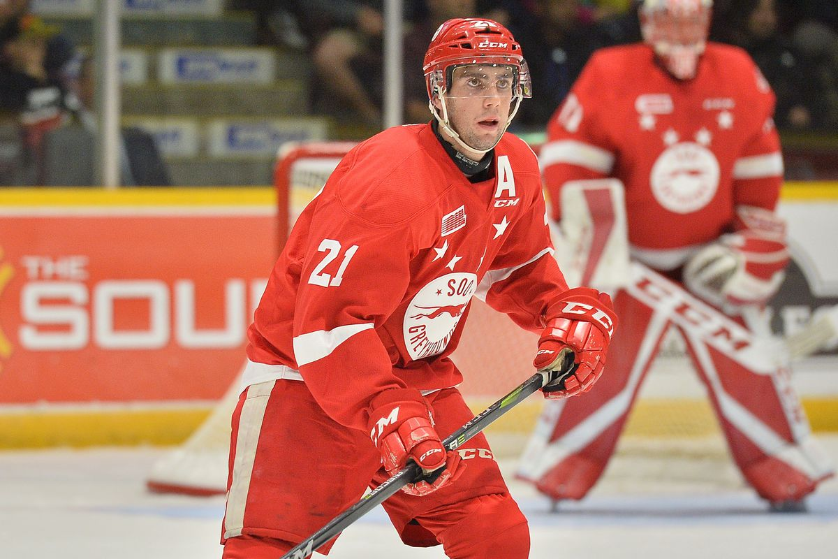 Conor Timmins of the Sault Ste. Marie Greyhounds. Photo by Terrry Wilson / OHL Images.