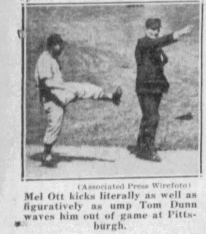 A picture of Mel Ott kicking at an umpire