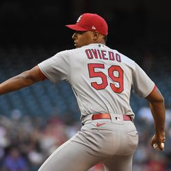 Johan Oviedo, Cardinals starting pitcher on Wednesday