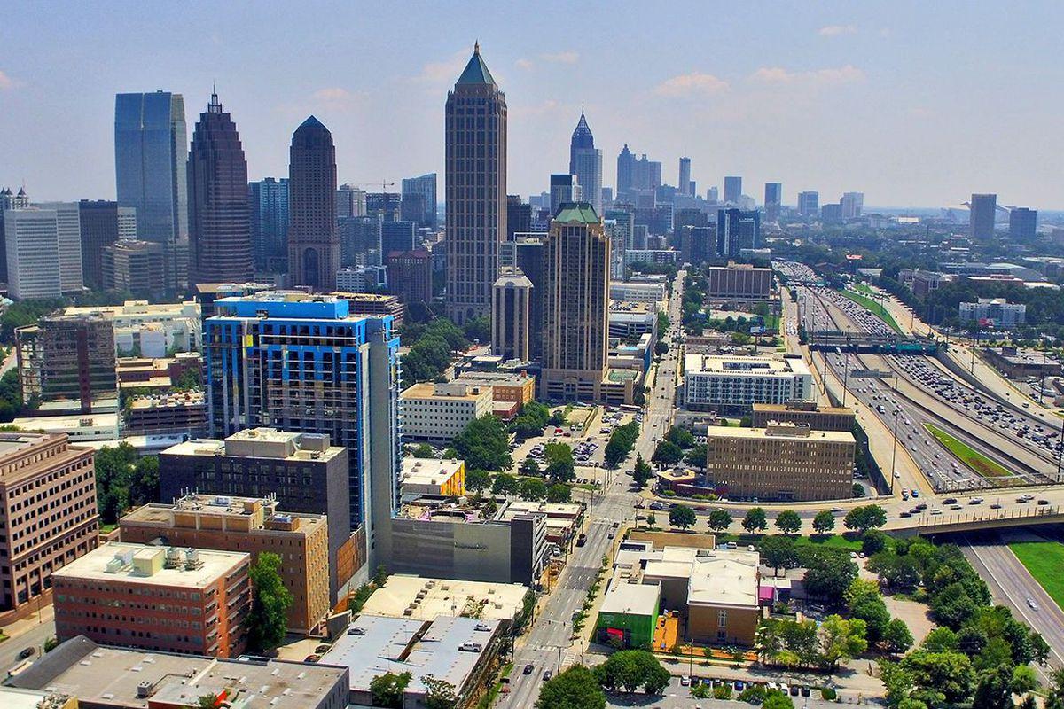 A photo of the Midtown Atlanta skyline, per a drone.