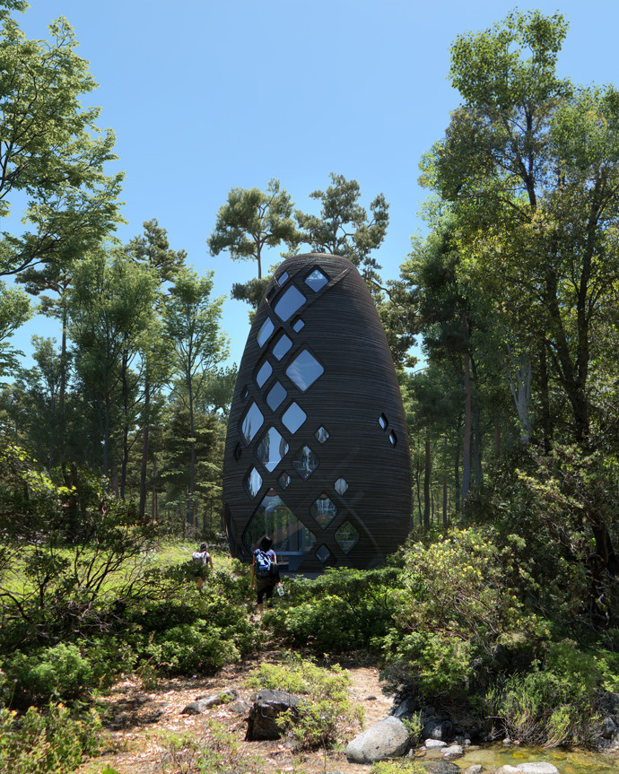 A tall bean-shaped pod dwelling features diamond-shaped windows. Trees are in the . background.