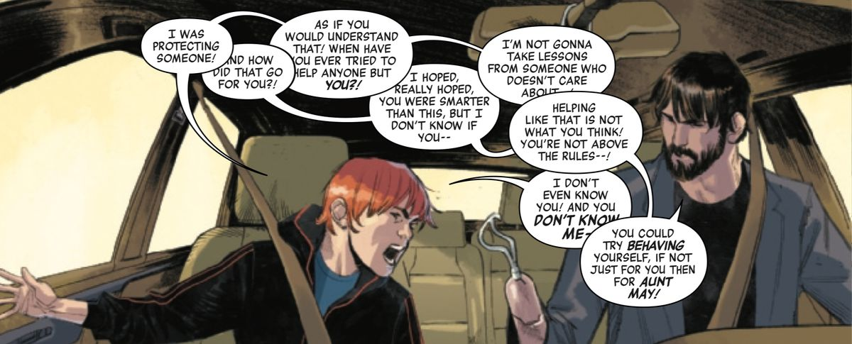 Ben Parker, son of Peter Parker, and Peter Parker argue over Ben getting detention for standing up to a bully, in Spider-Man #1, Marvel Comics (2019).