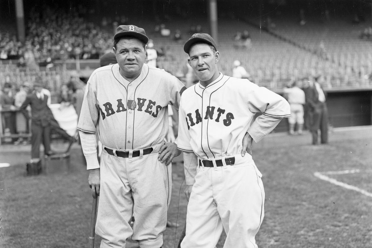 Babe Ruth And Mel Ott In Fulllength Phot