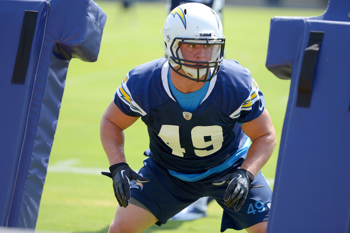 July 23, 2012; San Diego, CA, USA; San Diego Chargers linebacker Josh Linam (49) during a blocking drill in training camp at Charger Park. Mandatory Credit: Jake Roth-US PRESSWIRE