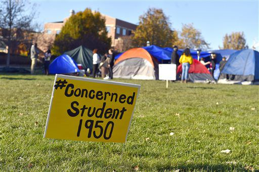 A sign is posted at a site where student protesters have put up tents on the University of Missouri campus on Sunday, Nov. 8, 2015, in Columbia, Mo. | Allison Long/The Kansas City Star via AP