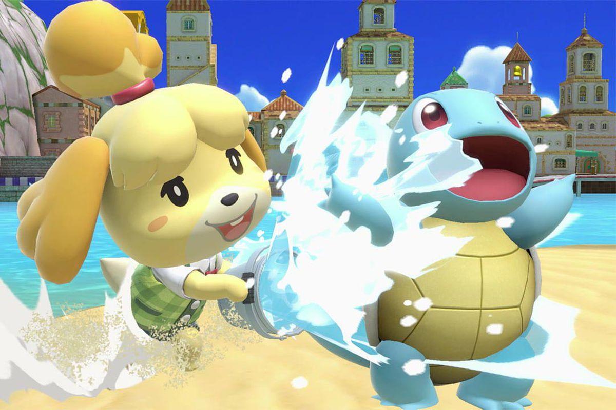 a cartoon dog splashing the Pokemon Squirtle