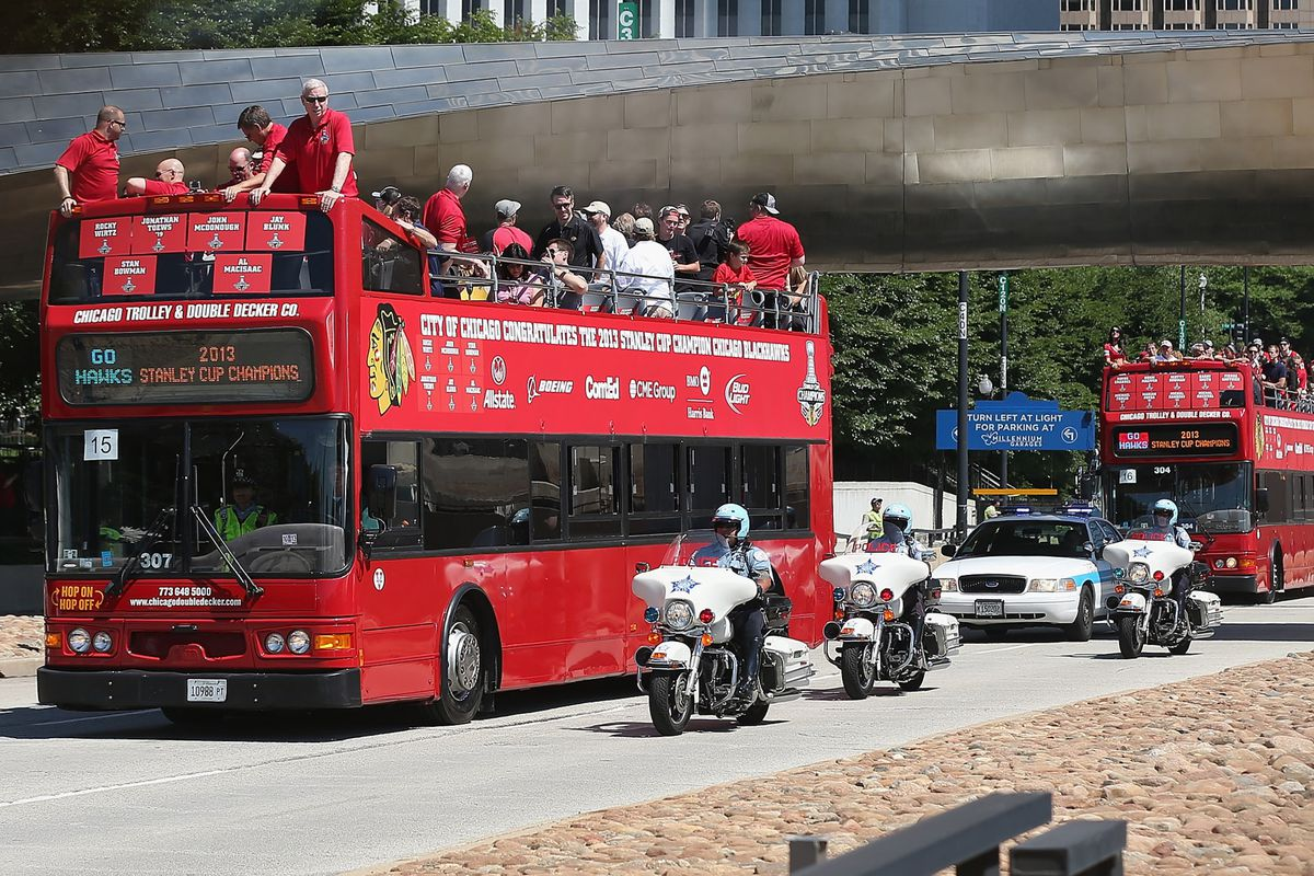 The Stanley Cup champion Chicago Blackhawks will travel over 36,000 miles this season, so that bus isn't gonna cut it.