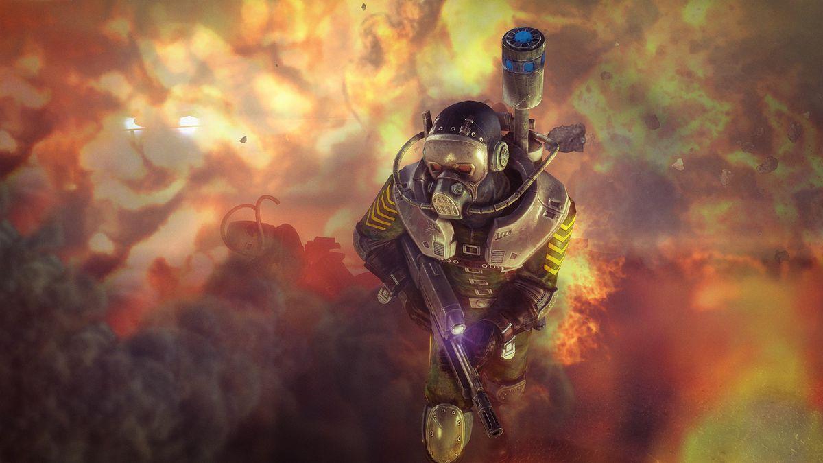 Rogue Trooper Redux - trooper wearing gas mask running through smoke