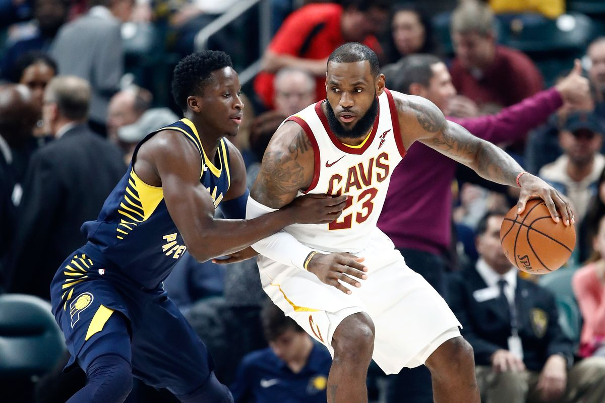LeBron James and Victor Oladipo