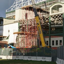 Scaffolding just north of the Gallagher Way Gate
