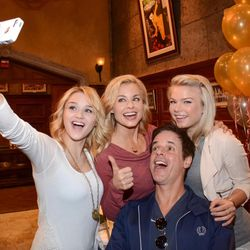 """Hunter King, Jessica Collins, Christian Le Blanc and Kelli Goss pose for a selfie at """"The Young and the Restless"""" 41st Anniversary on March 25 in Los Angeles."""