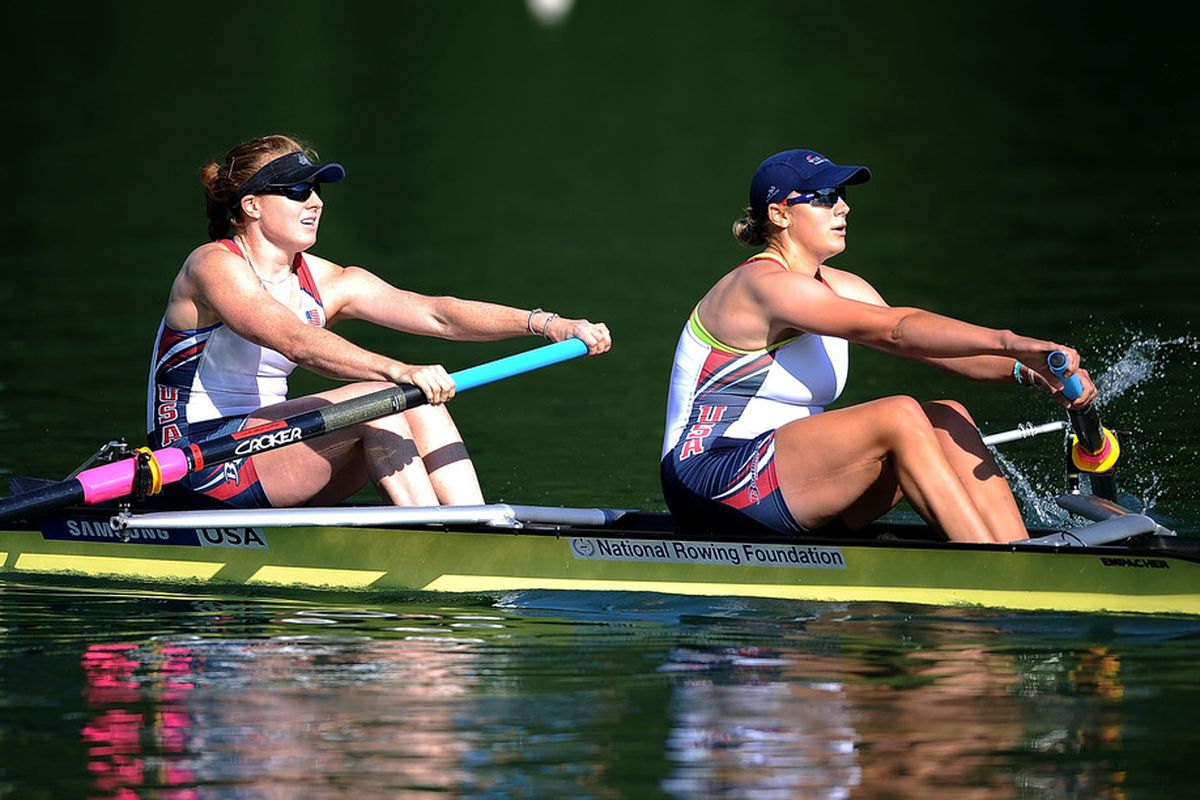 LUCERNE, SWITZERLAND - JULY 08:  Jamie Redman and Taylor Ritzel of USA  in the Women's Pair during Day 1 of the 2011 Samsung World Rowing Cup III on Lucerne Rotsee on July 8, 2011 in Lucerne, Switzerland.  (Photo by Christopher Lee/Getty Images)