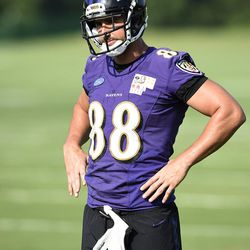 Baltimore Ravens tight end Dennis Pitta pauses during practice at the NFL football teams training camp, in Owings Mills, MD., Friday, July 29, 2016. (AP Photo/Gail Burton)