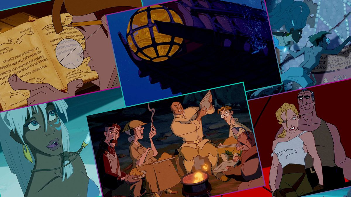 Graphic grid of stills from the Disney animated movie Atlantis: The Lost Empire