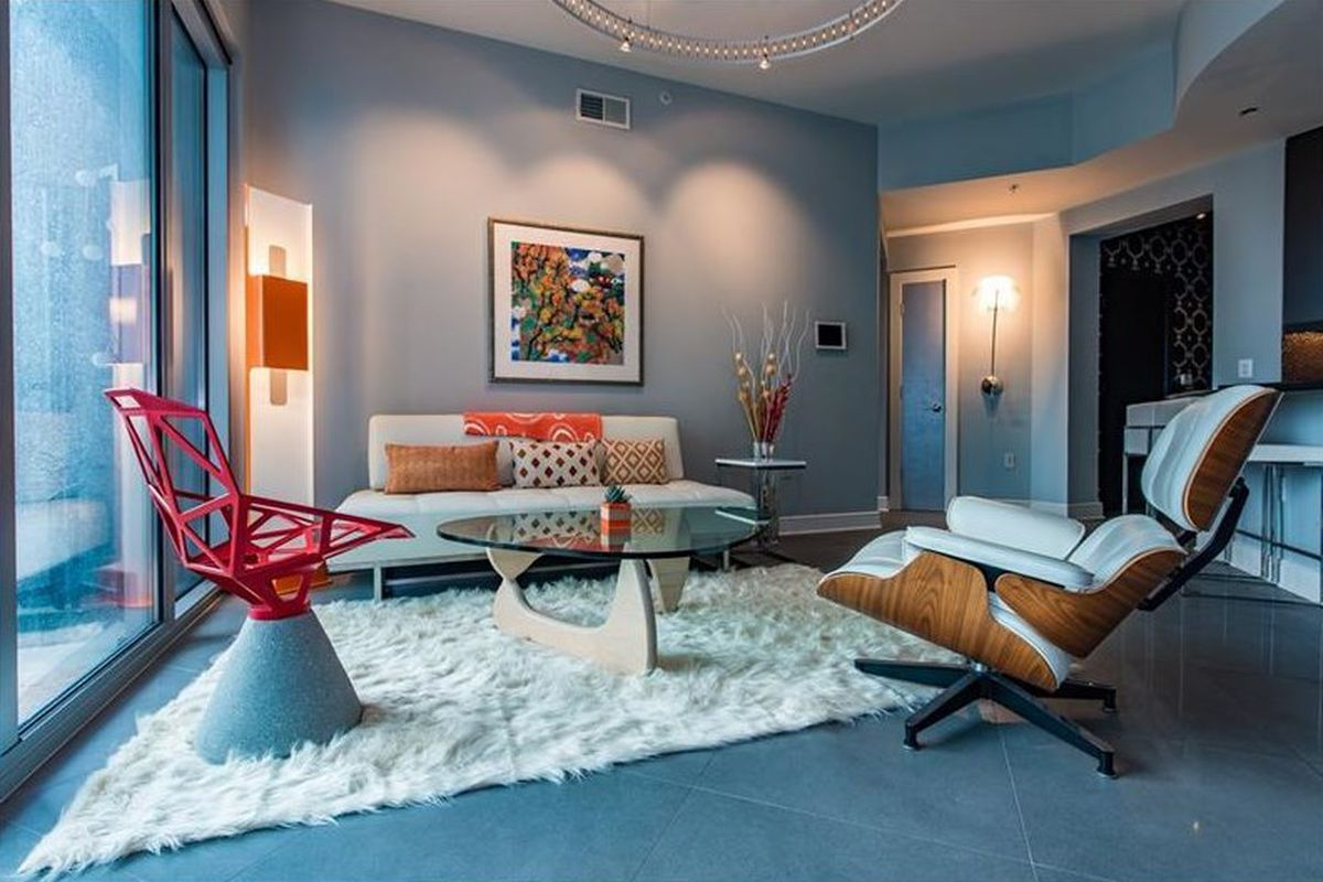 A condo for sale at the Luxe tower in Midtown Atlanta for $629,000.