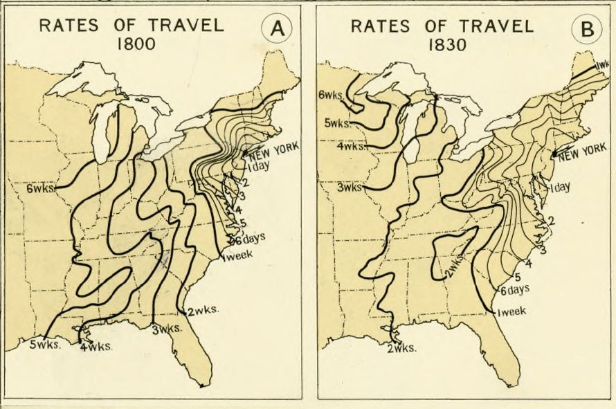 Map of travel times in 1800 and 1830
