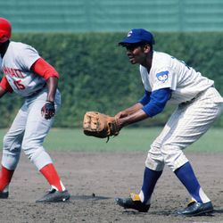 Ernie at first base with the Reds' George Foster leading off, August 25, 1971. Ernie played just seven more MLB games after this one