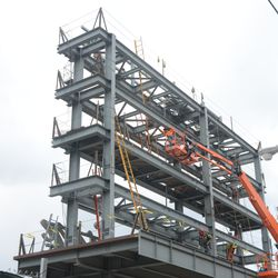 2:04 p.m. Another view of the right-field video board structure -
