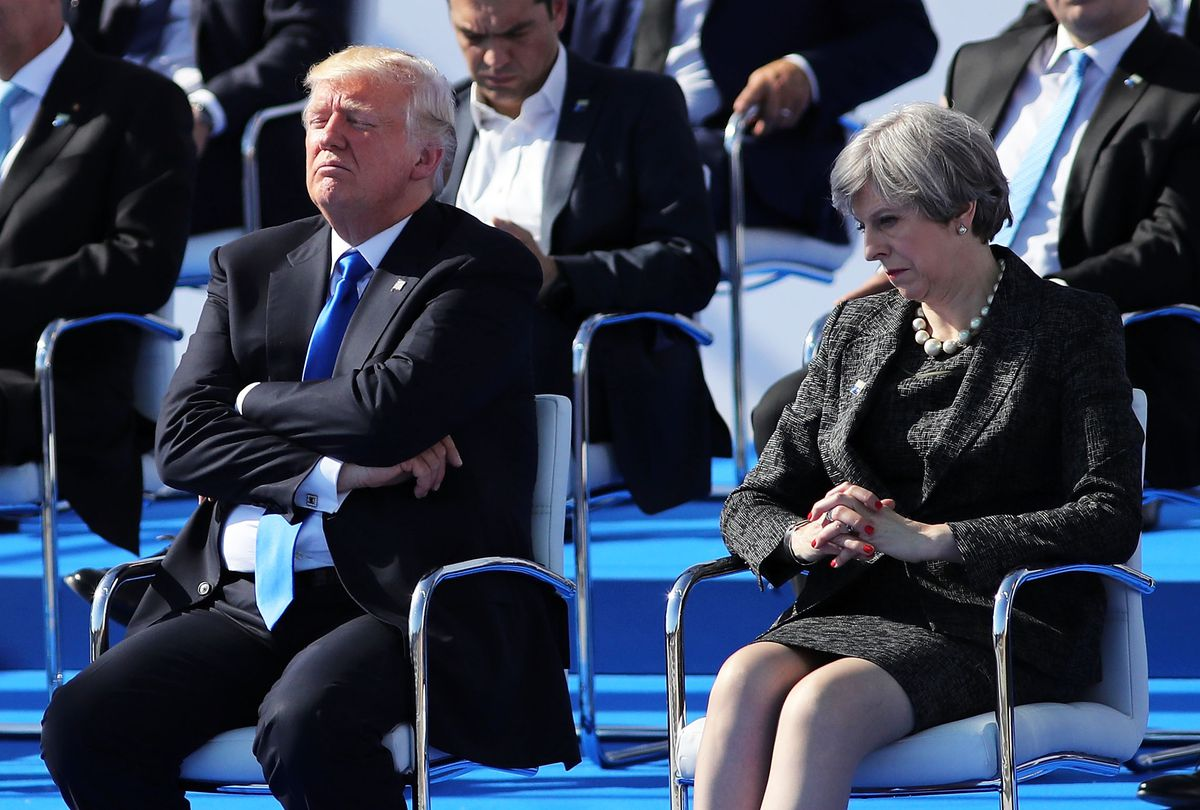 President Donald Trump and UK Prime Minister Theresa Mat at a NATO meeting on May 25, 2017.