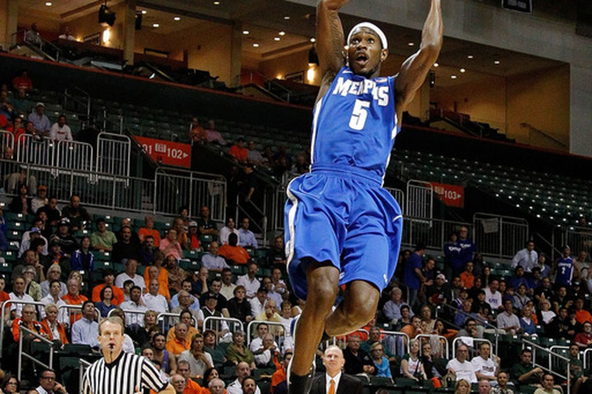 CORAL GABLES, FL - DECEMBER 06:  Will Barton #5 of the Memphis Tigers drives during a game against the Miami Hurricanes at the BankUnited Center on December 6, 2011 in Coral Gables, Florida.  (Photo by Mike Ehrmann/Getty Images)