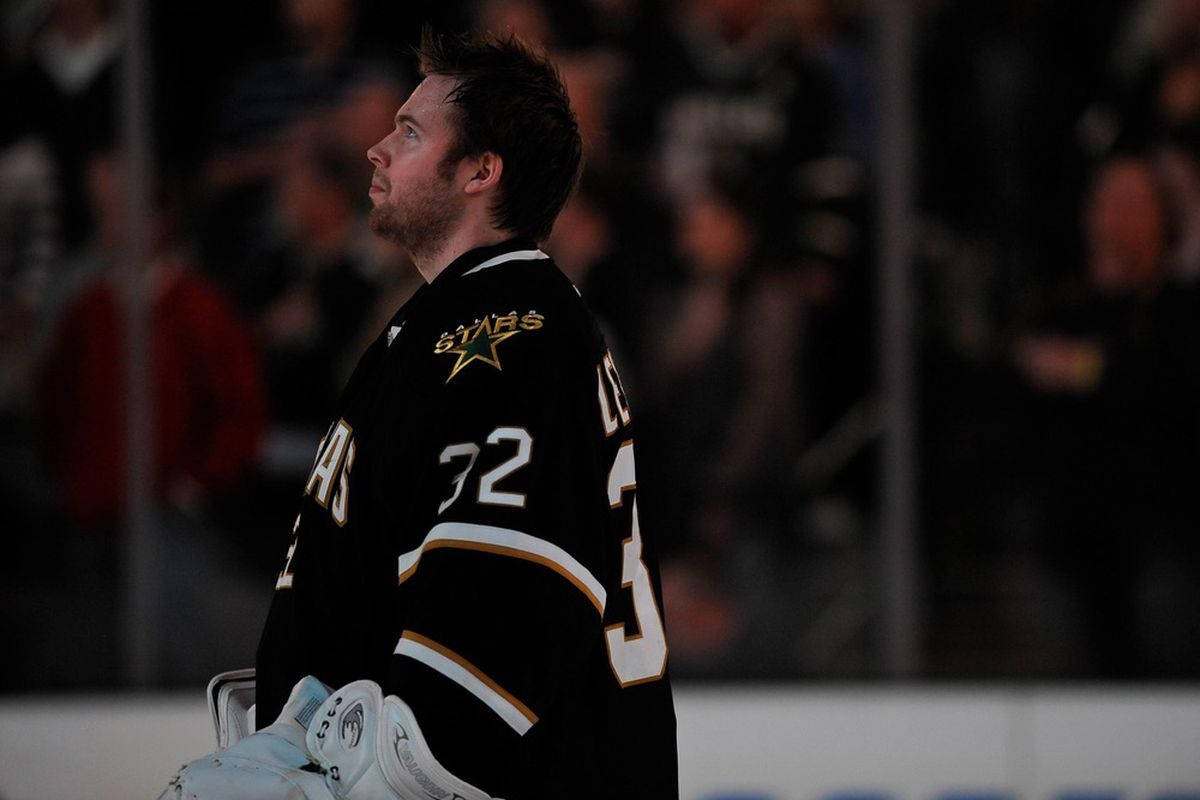 Apr 3, 2012; Dallas, TX, USA; Dallas Stars goalie Kari Lehtonen (32) waits for the game to begin against the San Jose Sharks at the American Airlines Center. The Sharks defeated the Stars 5-2. Mandatory Credit: Jerome Miron-US PRESSWIRE