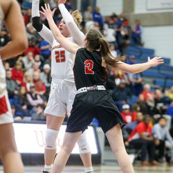 Judge Memorial's Emily Malouf (25) goes for a 3-pointer against Grantsville's Mckenzie Allen (2) during the 3A girls basketball semifinals at the Lifetime Activities Center in Taylorsville on Friday, Feb. 21, 2020.