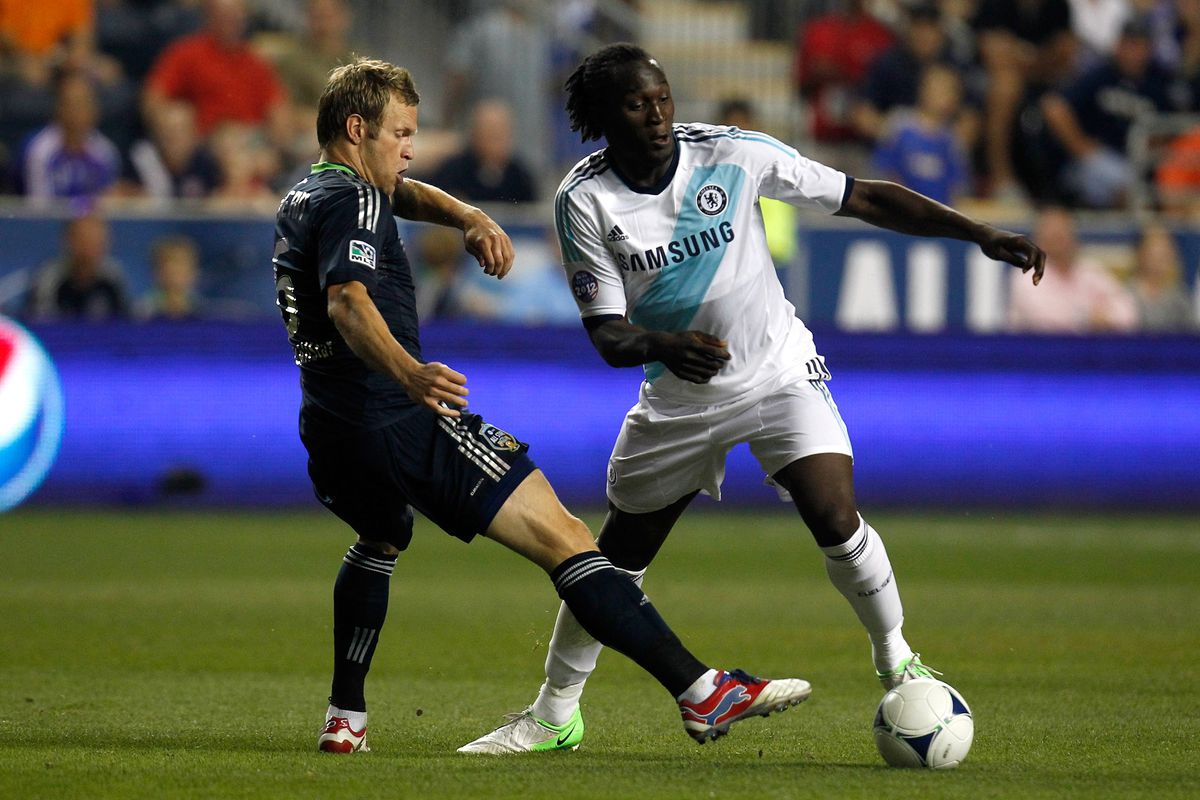 CHESTER, PA - JULY 25: Romelu Lukaku #18 of Chelsea handles the ball against Jay DeMerit #6 of MLS All-Stars during the 2012 AT&T MLS All-Star Game at PPL Park on July 25, 2012 in Chester, Pennsylvania.  (Photo by Jeff Zelevansky/Getty Images)