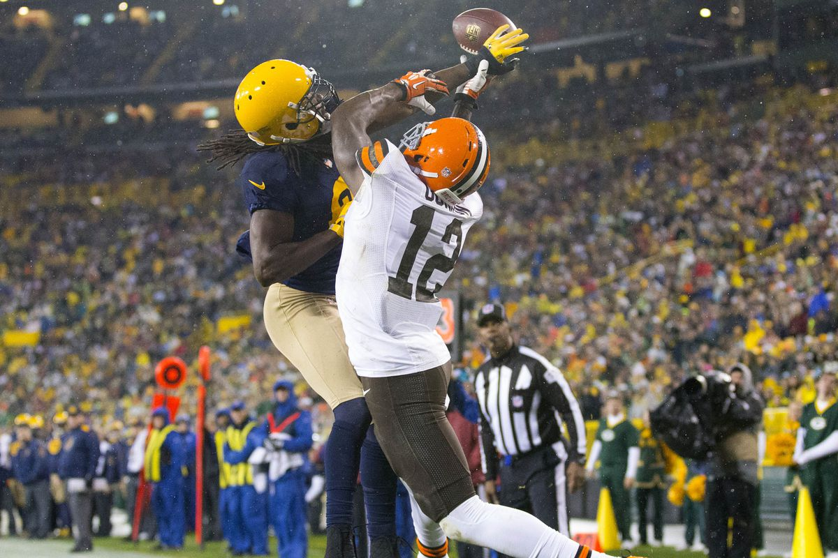 Davon House breaks up a pass intended for Josh Gordon.