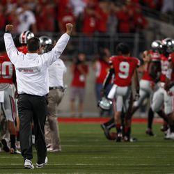 Urban Meyer celebrates the victory.