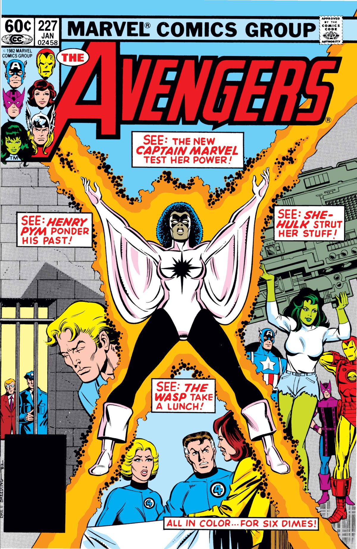 Monica Rambeau as Captain Marvel and the Avengers on the cover of Avengers #27, Marvel Comics (1983).