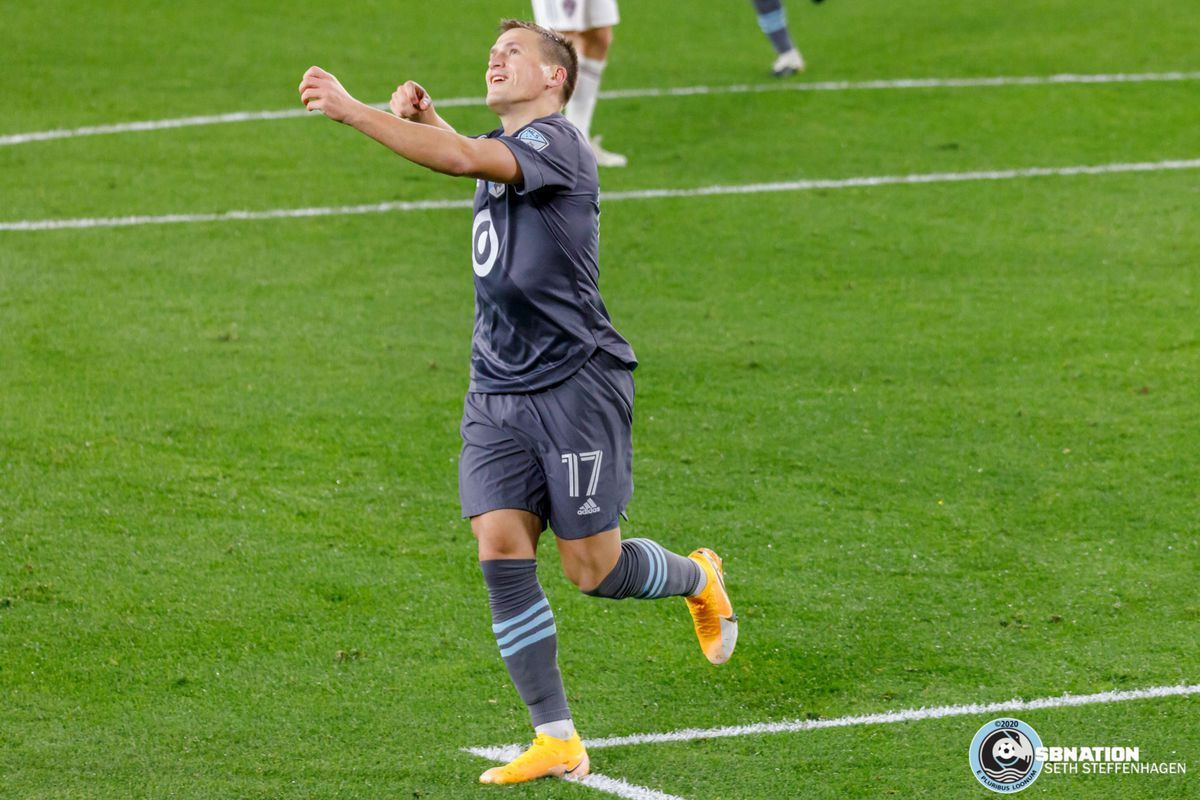 October 28, 2020 - Saint Paul, Minnesota, United States - Minnesota United midfielder Robin Lod (17) pulls an arrow from his quiver as he does the Robin Hood celebration after scoring a goal against the Colorado Rapids at Allianz Field.
