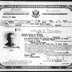 """In this document obtained by the AP from the National Archives Southwest Region center in Fort Worth, Texas, the paternal grandfather of New Mexico Gov. Susana Martinez is seen on a """"certificate of naturalization"""" dated April 6, 1942. The document shows that Adolfo R. Martinez became a U.S. citizen in 1942 after lawfully entering the country more than two decades earlier, resolving questions over whether the Republican governor's ancestor was an illegal immigrant."""