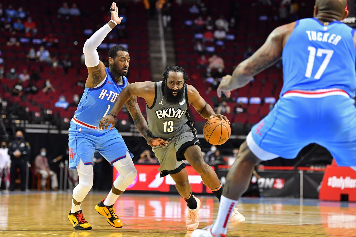 James Harden of the Brooklyn Nets drives to the basket during the game against the Houston Rockets on March 3, 2021 at the Toyota Center in Houston, Texas.