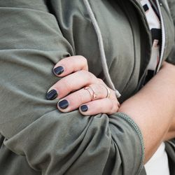 Her rings are Tiffany, and her jacket is from Marine Layer