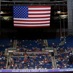 President Donald Trump supporters listen as Trump speaks during a campaign rally at the BOK Center, Saturday, June 20, 2020, in Tulsa, Okla.