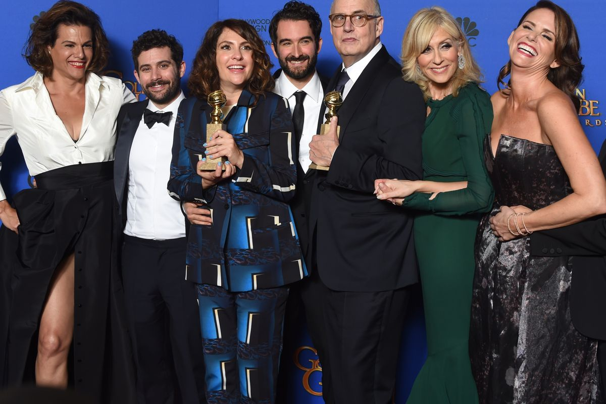 The cast of Transparent celebrating their win
